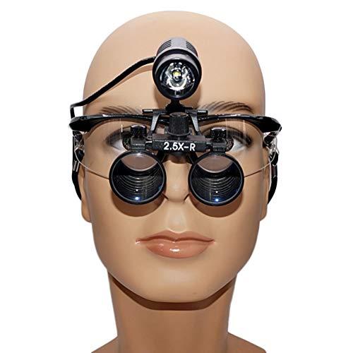 IJNUHB tandbinoculair vergrootglas van optisch glas, 3,5 x goede helderheid, convergente en hoge intensiteit, led-hoofdlamp voor de stomatologie van Oto-Rhino-Laryngologie