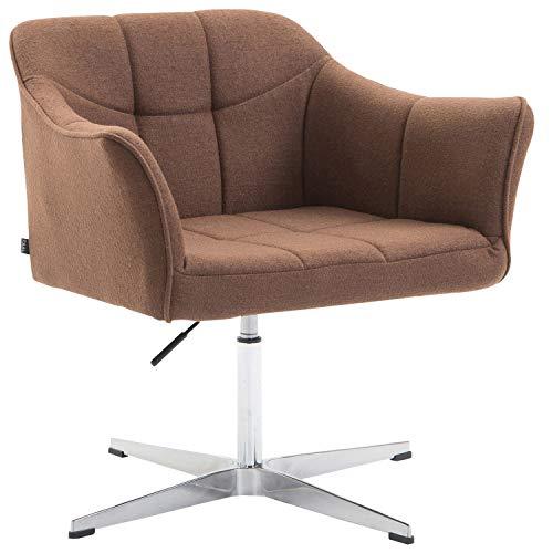 CLP Lounger Jean mit Stoffbezug   drehbarer & höhenverstellbarer Sessel   Lehnstuhl mit Aluminiumgestell   Sitzhöhe von 41-54 cm, Farbe:braun