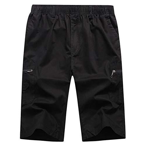 N\P Pantalones cortos largos de los hombres de carga de seguridad bolsillo cremallera de los hombres hasta la rodilla cintura