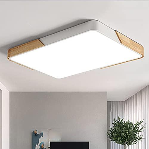 80W LED Deckenleuchte Deckenlampe voll dimmbar mit Fernbedienung rechteckige Lampe für Wohnzimmer Schlafzimmer Büro (Holz & Metall)