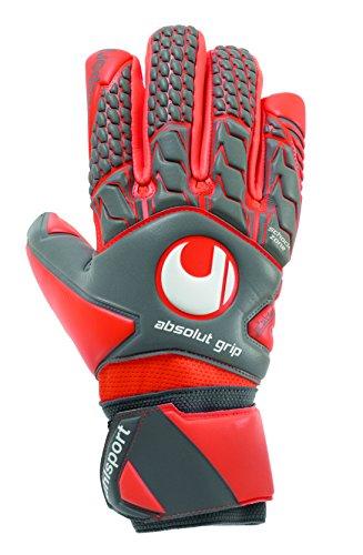 uhlsport Torwarthandschuhe AERORED-Absolutgrip HN-In den Größen 7-11 Innenhand Keeper-Handschuhe entwickelt mit Profis-Optimaler Halt und Grip, langlebig, Dark grau/Fluo rot/Weiß, 9