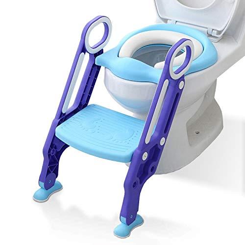 Hengda Toilettentrainer mit Treppe für 1-7 jährige Justierbarer für Kinder Lerntöpfchen Toilettensitz Rutschfest Rutschfest stabil klappbar und höhenverstellbar