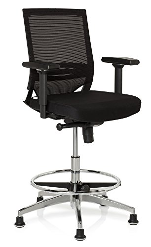 hjh OFFICE 657550 Arbeitsstuhl Counterstuhl TOP Work 77 Stoff/Netz Schwarz Bürostuhl hoch, ergonomisch, Stuhl & Fußstütze höhenverstellbar