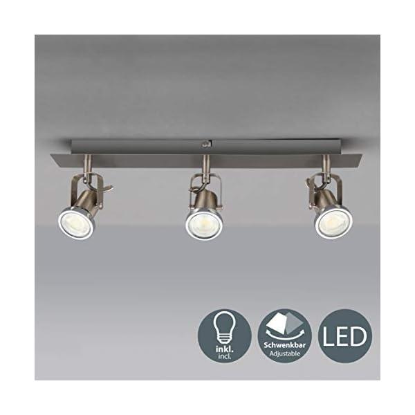 LED-Deckenleuchte-Schwenkbar-Inkl-Leuchtmittel-GU10-IP20-LED-Strahler-LED-Deckenlampe-LED-Spots-Deckenleuchte-Wohnzimmerlampe-Deckenspot-LED-Deckenstrahler-Lampe-warmweiss-Metall-Matt-Nickel-Drehbar