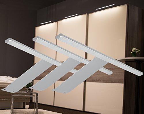 LED Aufbauleuchte 3-er Set mit Möbeltrafo Alu warmweiß /2185-3/4189-15W/ Schrankleuchten Möbelbeleuchtung