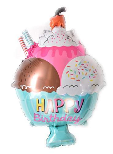 TopTen Folienballon  EIS  mit Happy Birthday Aufschrift - Perfekte Dekoration für Ihren Geburtstag (1 Stück)