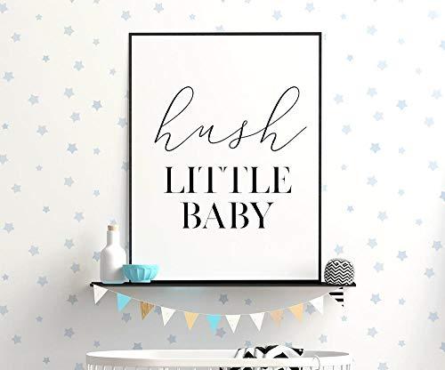 MG global Hush Little Baby Art, decoración monocromática del cuarto de bebé, decoración de la cuna, impresión de cita del bebé, arte de la habitación del bebé sin marco