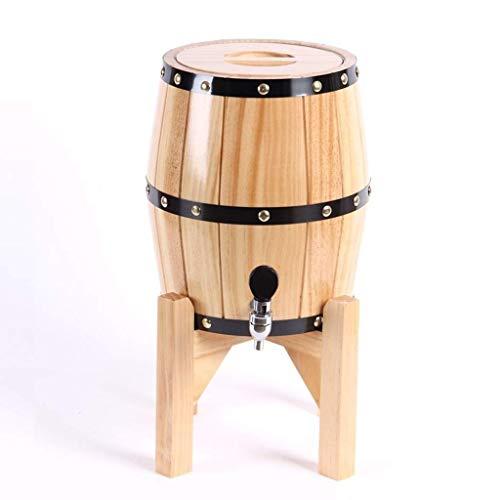 GPWDSN Pionowe beczki dębowe dekoracyjne beczki do przechowywania beczek drewnianych na białe wino whisky piwo brandy ocet (5 l, drewno), regały na wino