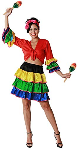 Gojoy Shop- Disfraz de Brasileña para Mujeres Carnaval (Contiene Pañuelo, Camiseta y Falda, Talla Unica)