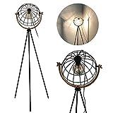 Lámpara de pie Vintage,ajustable lampara pie industrial, Moderna 149 lampada pie ,1x E27,diseño retro con rejilla metálica y efecto retroiluminación, ideal para salón,Dormitorio, Oficina