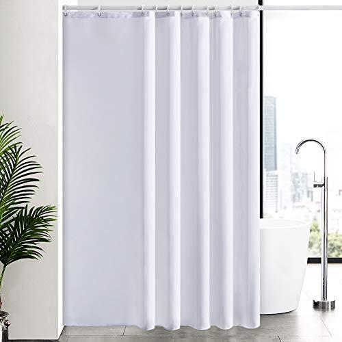 Duschvorhang Überlänge für Badezimmer, Badvorhang Anti-schimmel Textil für Badewanne & Dusche, Vorhang aus Stoff Antibakteriell Waschbar, mit 12 Haken Extra Groß Weiß 200x240cm.