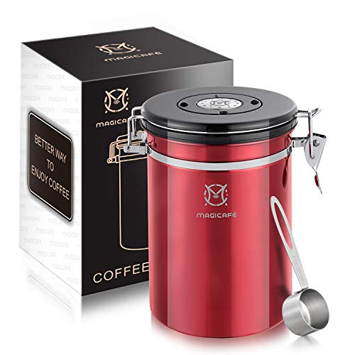 Magicafé Coffee Canister Vacuum Sealed - Co2 Grounds Valve Airtight Coffee Bean Container with Scoop Red Large 21oz