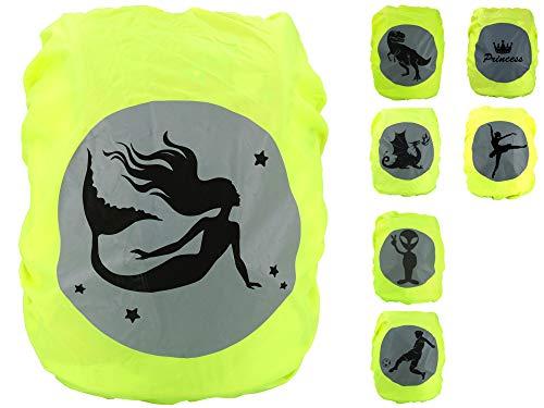 EANAGO Premium Schulranzen/Rucksack Regenschutz/Regenüberzug, ohne Nähte, 100% wasserdicht, mit Sicherheits-Reflektionsbild Meerjungfrau