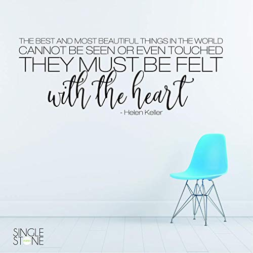 Helen Keller - Adhesivo decorativo para pared, diseño con texto en inglés 'Fieltro con el corazón'