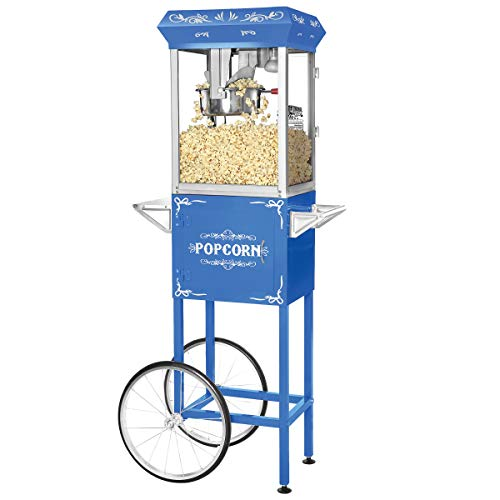 Lowest Price! Great Northern Popcorn Blue 8 oz. Ounce Foundation Vintage Style Popcorn Machine and C...