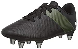 canterbury Boy's Phoenix 3.0 Junior Soft Ground Rugby Boot, Black/Deep Lichen Green/White, 1 UK from Canterbury