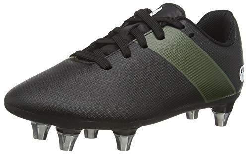 Canterbury Boy's Phoenix 3.0 Junior Soft Ground Rugby Boot, Black/Deep Lichen Green/White, 3 UK