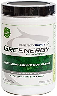 Greenergy Premium Green Drink Powder | Made with Certified Organic Ingredients | Non-GMO Green Vegan Superfood for Performance & Immunity | Gluten Free | Sugar Free -10.47 Oz Jar by EnergyFirst