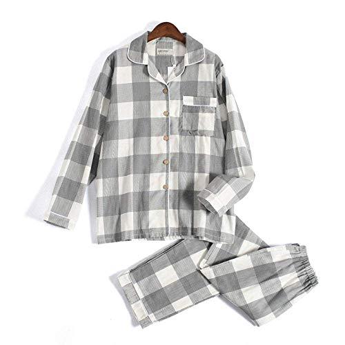 DERUKK-TY Conjunto de pijama para mujer, de gasa a cuadros, para amantes de algodón, para mujeres y hombres, otoño de manga larga japonesa, ropa de dormir informal para mujer, pijama gris a cuadros, M
