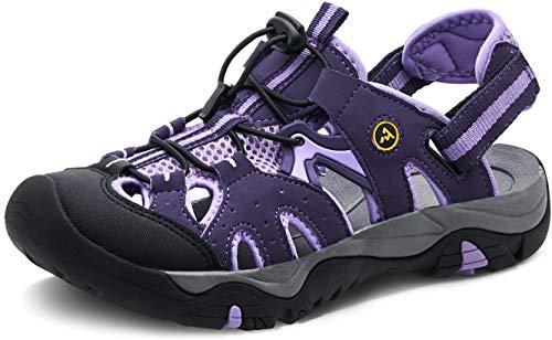 ATIKA Sandali da donna atletici da escursionismo con punta chiusa, leggeri, adatti per camminata, trailing, trekking, scarpe da acqua in estate, (W242, confezione da 1 viola), 40 EU