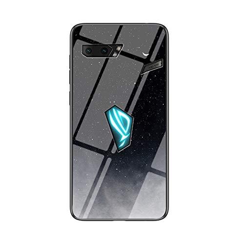 BRAND SET Carcasa para ASUS ROG Phone 2 Funda Protectora Transparente con Patrón Luna Cielo Estrellado Cubierta Trasera de Vidrio Templado + Borde de Silicona Case Antigolpes-XKYY