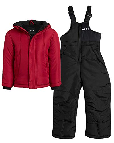 DKNY Boys 2-Piece Puffer Ski Jacket and Insulated Snowbib Snowsuit Set (Infant/Toddler) (Red/Black, Toddler (4T))
