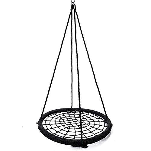 Rope Net Saucer Swing, Dragende 300kg Kids Schommeling van de boom, 100cm Groot formaat Diameter hangstoel Seat, hoge kwaliteit gevlochten Hangstoel installeren op boom pergola klimrek