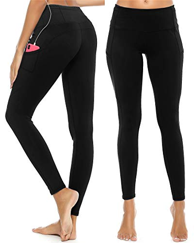 GRAT.UNIC Damen Hohe Taille Sport Leggings,Damen Sport Leggings,Yoga Sporthose mit Seitentaschen, Damen Leggings,Classics Schwarz Stretch Workout Fitness Jogginghose (Schwarz(Lange leggings), M)