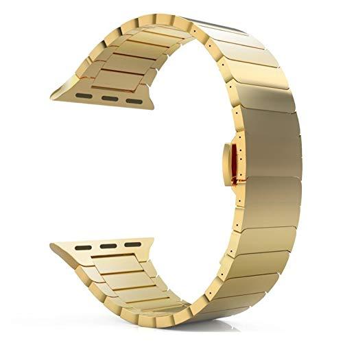HUIJUNWENTI Banda de Reloj Banda de Acero Inoxidable para Apple Watch Band 44mm 40mm Iwatch Band 42mm / 38mm Brazalete de Mariposa Pulsera de Metal Apple Watch Serie 5 4 3 SE 6