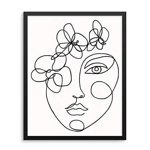 One Line Drawing Art Print Abstract Womans Face Portrait With Flowers Poster 11x14 UNFRAMED Minimalis Artwork for Living Room Bedroom Bathroom or Home Office (11x14)