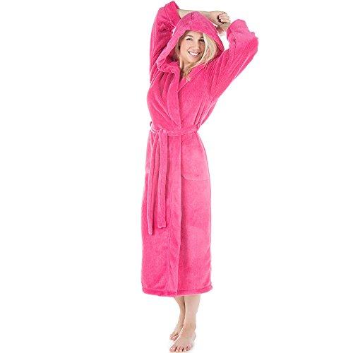 CelinaTex Samos Bademantel Kapuze Damen Herren XS pink Sherpa-Fleece Morgenmantel wadenlang Saunamantel Unisex