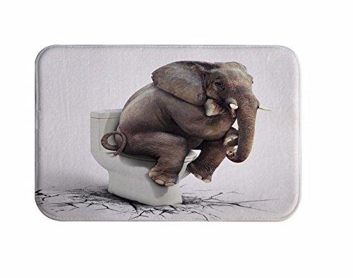 A.Monamour Badematten Badteppiche Badvorleger Weiße Hintergründe Elefanten Sitzen Auf Wc Geknackt Boden Lustig Drucken Antibakterielle Flanell Bad Teppich Matten Für Wohnzimmer Schlafzimmer Badezimmer