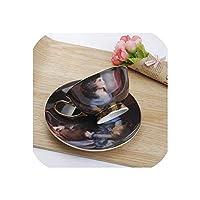 ヨーロッパ裁判所図絵画コーヒーカップセットクリエイティブ磁器ティーカップセットアフタヌーンティーパーティーウェディングギフト、G