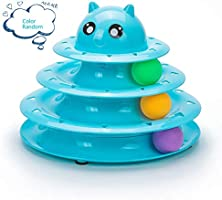 Mumoo Bear Cat Toy 3 Layers Turntable Ball Anti Skid Pet Kitten Toys with 3 Color Balls Cat Tracks Ball, Assorted Color