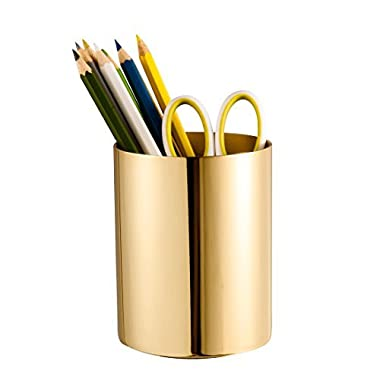 IMEEA Pen Pencil Holder Makeup Brush Holder 1.2mm Thick Heavy Duty SUS304 Mirror Finish Stainless Steel (Gold)