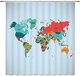 WS World Map Duschvorhang, Landkarte/Kontinente, Tellerfarbe, modisch, für Kinder, wasserdichtes Polyester-Gewebe, Heim-Badezubehör, Vorhang-Set, 177,8 x 177,8 cm, inkl. Haken