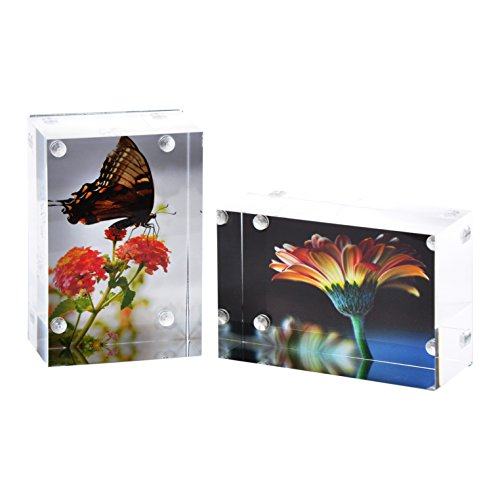 2-Pk Wallet Photo Sized Magnetic Photo Frame: Elegantly Display Wallet-Sized Photos in Home/Office
