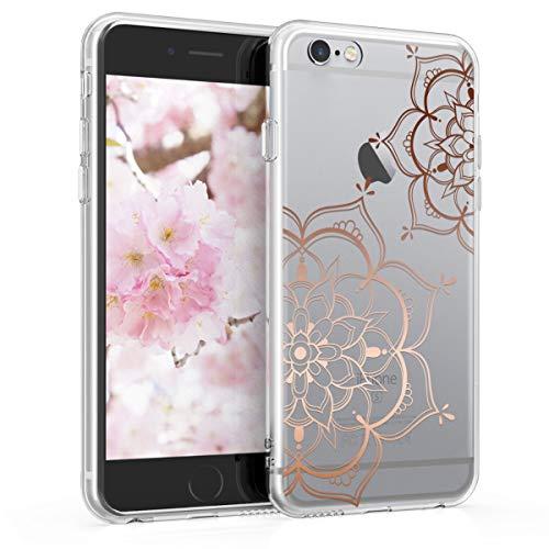 kwmobile Cover Compatibile con Apple iPhone 6 / 6S - Back Case Custodia Posteriore in Silicone TPU per Smartphone - Backcover Fiori Gemelli Oro Rosa/Trasparente