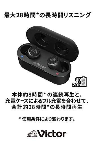 VictorHA-FX100T完全ワイヤレスイヤホン本体質量4.5g小型軽量ボディ最大28時間再生生活防水仕様BluetoothVer5.1対応
