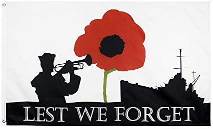 Design B domax 3 x 5 Feet Lest We Forget Poppy Remembrance Day War Heroes 100/% Polyester Material Flag