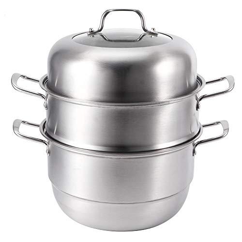 Olla de vapor de 3 niveles para utensilios de cocina con tapa de vidrio templado, funciona con gas, eléctrica, horno de inducción, parrilla superior, apto para lavavajillas de 11 pulgadas de acero ino