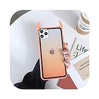 Arbbg 透明グラデーション3DデビルホーンiPhoneケース1211 Pro Max X XR XS Max 7 8 6SPlus耐衝撃性アクリルバックカバー-T6-For iphone 6 6s