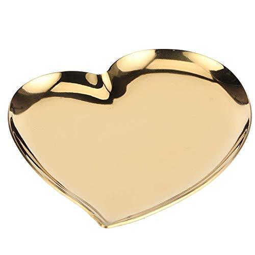 Bandeja pequeña de oro para joyas, plato de anillo en forma de corazón, pendientes de acero inoxidable, bandeja para baratijas, bandeja de exhibición de joyas para decoración de mesa, 5.5x4.6 pulgada