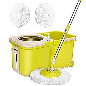 ARSUK Juego de Fregona y Cubo, cabeza giratoria 360° y escurridor Con 2 Recambio de Microfibras, Productos y utensilios de limpieza
