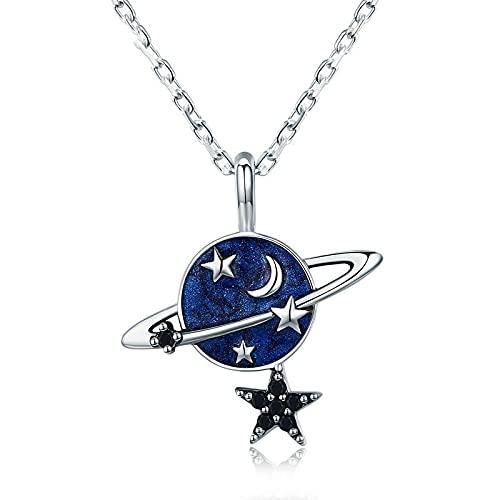 Kkoqmw Collar con Colgante de Estrella Brillante de Planeta Secreto de Plata de Ley 925 para Mujer, joyería de Plata esterlina