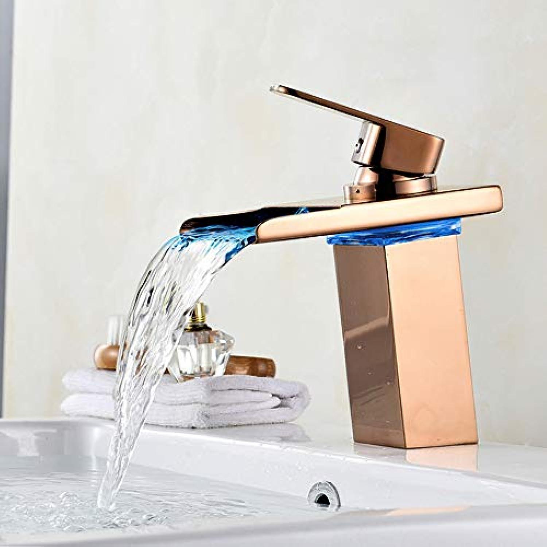 Lddpl Wasserhahn Becken Wasserhahn Led-Licht Wasserhahn Bad Wasserfall Becken Wasserhahn Messing Waschbecken Mischbatterie Goldene Fertige Einhandbatterie