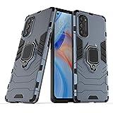 NOKOER Funda para OPPO Reno 4 Pro 5G, Sottile 2 en 1 PC + TPU Case, Anti Caída Protección Superior Telefono Funda [Antideslizante] Función de Soporte Cover - Azul