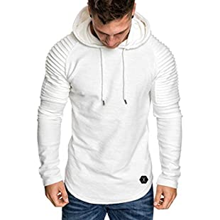 Men Long Sleeve Hoodie, Familizo Clearance Fashion Men's Autumn Winter Pleats Slim Fit Raglan Long Sleeve Hoodie Top Fashion Causal Top Comfortable Blouse:Downloadlagump3gratis