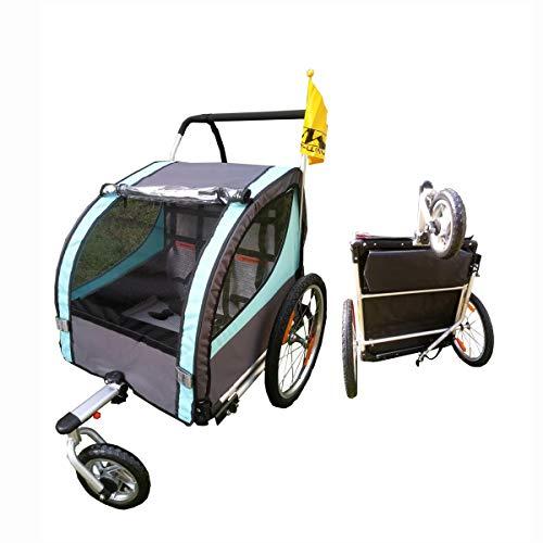 OLMME Fahrradanhänger für Kinder 2-Sitzer-Anhänger Kinderwagen Aluminiumlegierung Universal-Radtransportanhänger, Wander- / Reiselast 40 Kg (für Kinder von 1-6 Jahren)