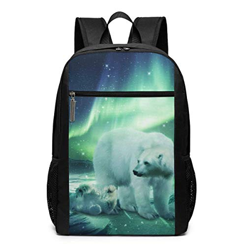 IUBBKI Unisex Classic Lightweight Polyester Northern Lights Polar Bear Classic Crew Backpack School Rucksack Backpack School Bags Laptop Backpack 17 Inches
